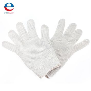 Stainless Steel Wire+Polyester+Chemical Fiber  Safety Works Anti-Slash Stab Resistance Cut Proof Gloves White Free Shipping