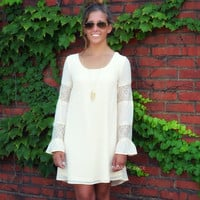 Lovely Lacey Cream Lace Sleeve Dress