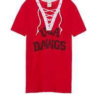 University Of Georgia Lace-up V-neck Tee - PINK - Victoria's Secret