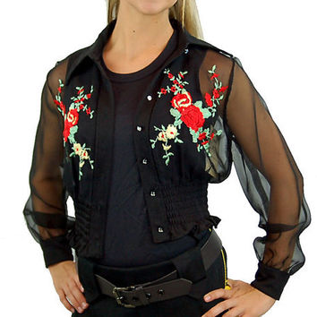 1970s sheer blouse, black red embroidered,flowered blouse, boho blouse