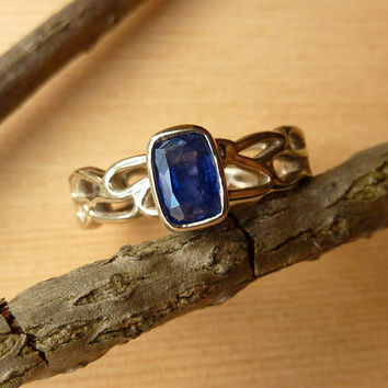 River Rock Band with Blue Sapphire Ring