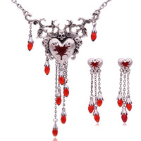 Vintage Gothic Halloween Steampunk Skull Pours Heart Necklace Colliers Ethniques Maxi Gothic Choker Necklace
