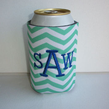 Monogrammed Custom Can mint green chevron Koozie -  Personalized 3 letter Embroidered Monogram Coozie - gift for her drink holder