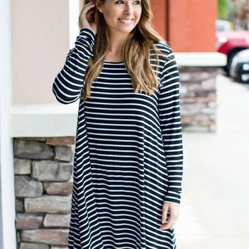 PIKO Stripe Sensation Dress - Black