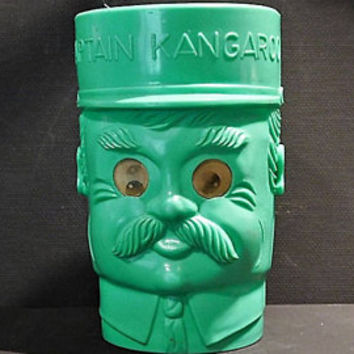 Mid Century Hologram Googly Eyes Captain Kangaroo Childs Green Plastic Tumbler Cup Mug Robert Keeshan Cereal Box Tops Toy TV Memorabilia