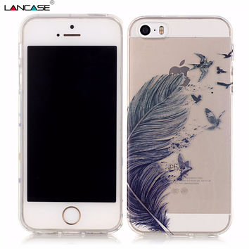 Clear Phone Case for iPhone 5S Feather Dream Catcher Bear Silicone Soft Housing Back Cover for iPhone SE 6 6s Plus 6plus Coque