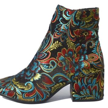 Floral Embroidered Ankle Boot - Limited Sizes