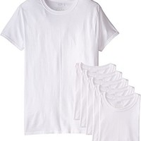 Hanes Men's 6 Pack Ultimate Crew Neck Tee, White, Large