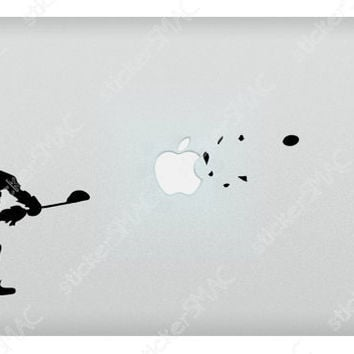 Lacrosse Blast of a Shot Through the Apple Sports Mac Sticker Lacross MacBook Decal