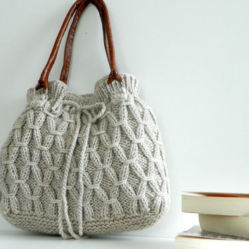 Bag, NzLbags - Beige-Ecru Knitted Bag, Handbag - Shoulder Bag, Leather Strap