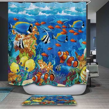 nemo Fish Cartoon Polyester Shower Curtain including 12 Hooks  Mildewproof