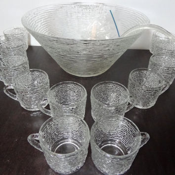 Vintage Anchor Hocking Soreno Clear Glass Punch Bowl and Set of 12 Glasses with a Plastic Ladle and Cup Hooks - Mid Century Modern