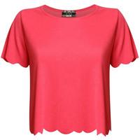Alexa Crepe Scallop Edge Cap Sleeve Top in Coral