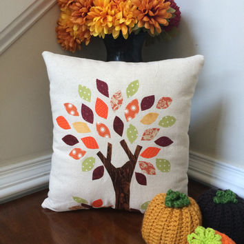 Fall pillow, Autumn pillow, Applique pillow, Tree pillow
