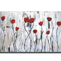 48x24 CUSTOM Original Large Abstract Metallic Red Floral Poppies flowers Field Modern Contemporary Fine Art Acrylic Earthy Nature Painting