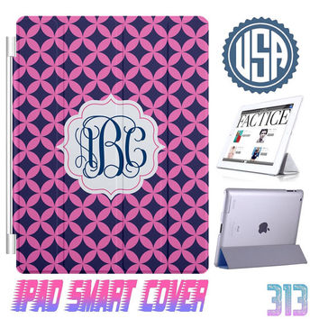Personalized Monogram Navy Pink IPad Air Smart Cover , IPad Mini Smart Cover IPad 4 Case , IPad 3 2 IPhone 5  4 4S Magnetic Sleep Wake #313