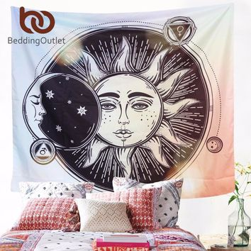 BeddingOutlet Sun Moon Hippie Tapestry Wall Hanging Indian Bohemian Celestial Printed Window Door Curtain 130x150cm 150x200cm