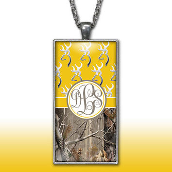 Camo Monogram Pendant Charm Necklace Yellow Deer Head Personalized Country Girl Custom Initial Necklace, Monogram Jewelry