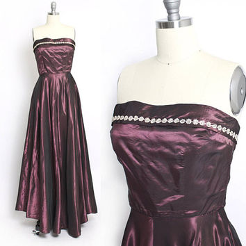 Vintage 1950s Dress - Burgundy Sharkskin Taffeta Rhinestone Strapless Full Skirt Gown - Small