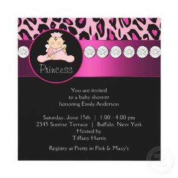 Hot Pink Leopard Princess Girl Baby Shower Invitation from Zazzle.com
