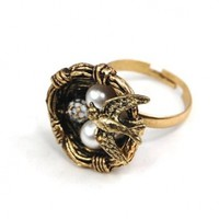 World Pride Vintage Sparrow Bird Nest Egg Adjustable Pearl Ring Jewelry Retro
