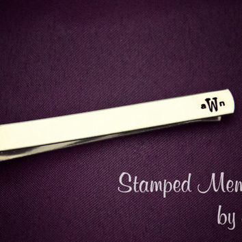 Best Man Monogrammed Tie Clip - Wedding Present - Hand Stamped Customized Aluminum Tie Clip - Groomsman Gift - Father of the Bride and Groom