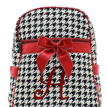 Bama Houndstooth Roll Tide Monogrammed Backpack  Monogram Quilted Backpack  Personalized Backpack