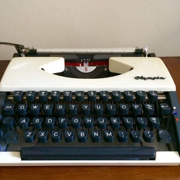 Rare Olympia White and Dark Blue Manual Typewriter