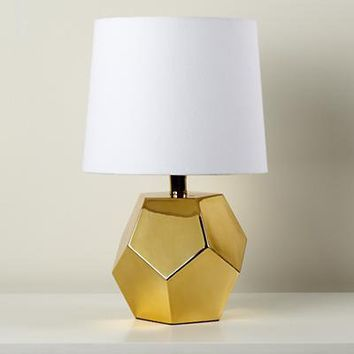 The Land of Nod: Kids Lighting: Gold Geometric Lamp Base in Table Lamps