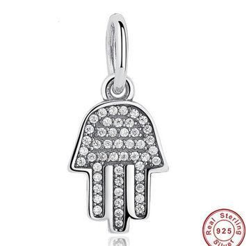925 Sterling Silver Jewelry Symbol Of Protection Clear CZ Pendant & Charm Fit PANDORA