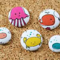 Sea Theme, Fish, Magnets, Thumbtacks, Set of 5