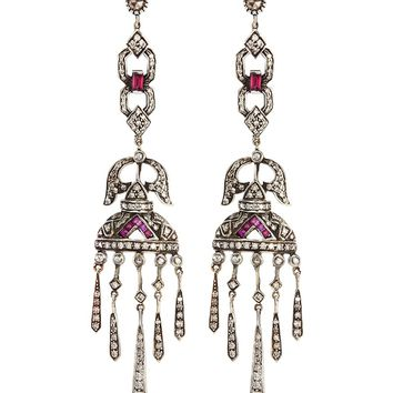 Aishwarya | Diamond ruby gold alloy chandelier earrings | Lane Crawford - Shop Designer Brands Online