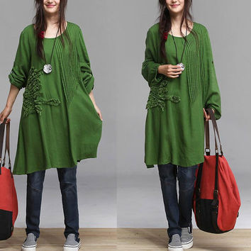 Autumn grass green embroidery cotton long-sleeved coat / woman hedging long coat  Maxi Dress