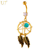U7 Brand Septum Piercing Belly Button Ring US Native American Style Gold Color Navel New Women Body Jewelry DB014