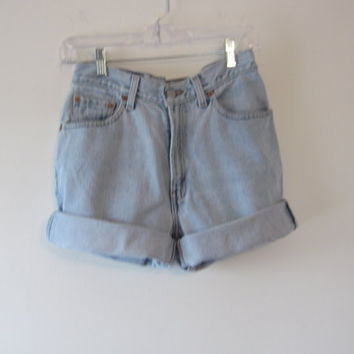 Vintage Levi 512 High Waisted Shorts Junior 9 Womens High Waist Denim Shorts Cut Off Jean Shorts 29