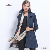 Trench Coat For Women Basic Fashion Women Long Trench Coat Double-Breasted Plus Size Zipper Side Brand 2017 European Trench Coat