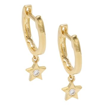 Mini Dangling Diamond Star Huggies 14KT
