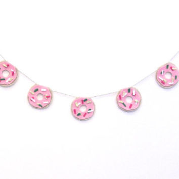 Pink Christmas donut felt banner, dessert party banner, do-nut felt room banner, with pink frosting and green, white and fuchsia sprinkles