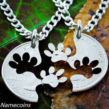 Dog Jewelry, Paw Print Necklace Set, Best friends Interlocking Relationship cut coin, necklace, or collar tag by NameCoins