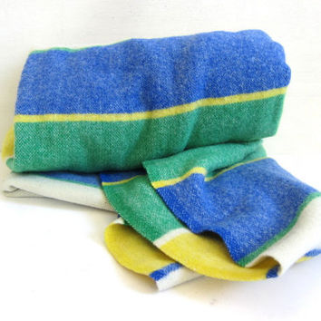 vintage onkaparinga Wool Camp Blanket / green, yellow and blue stripes