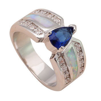 Deep Blue Topaz Fashion Jewelry for women White Fire Opal Silver Stamped Ring