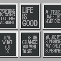 Choose any 1 Print 11x17 Wall Decor Art Typography Quote Saying Words Picture Life Is Good Love What You Do Sunshine World Change Story