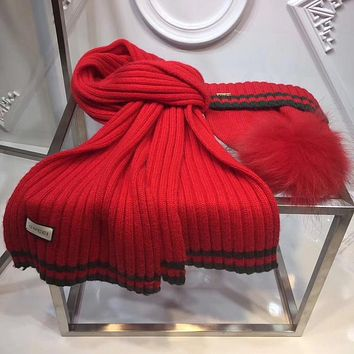 GUCCI Fashion Beanies Knit Winter Hat Cap Scarf Scarves Set Two-Piece