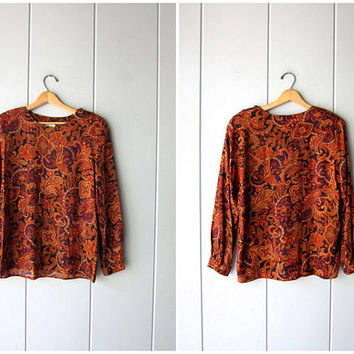 Printed Floral Blouse 90s Rayon Blouse Harvest Print Top Boxy Long Sleeve Shirt Orange Red Black Vintage Casual Modern Blouse Womens Medium
