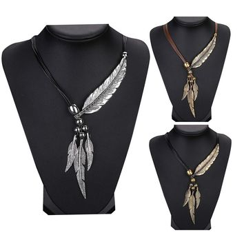 Hot Sales Alloy Feather Antique Vintage Necklace Sweater Chain Pendant Necklace for 2017 Women Fine Jewelry #117