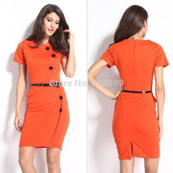 Summer Ladies Knee Length office workwear dress Spring  6 Nail Button slim package hip fashion summer dress popular Pencil Dress