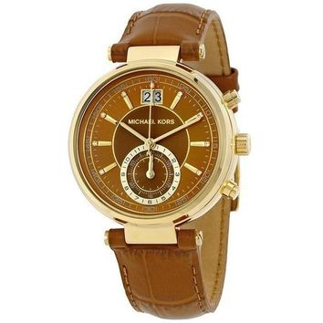 Michael Kors Women's Sawyer Watch Brown Leather Band MK2424