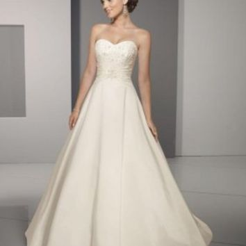 A-Line Princess Strapless Chapel Train Satin wedding dress for brides 2012 Style(WD0274) [WD0274] - $171.95 :