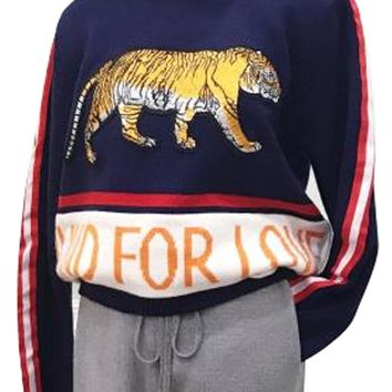 Blue Stripe Tiger Embroidery Letter Pattern Knit Sweater