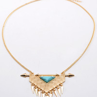 Golden Triangle Stone And Pointed Cone Pendant Necklace